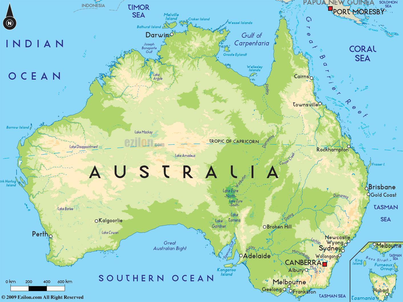 kart over australia Australia i kart   kart over Australia (Australia og New Zealand  kart over australia