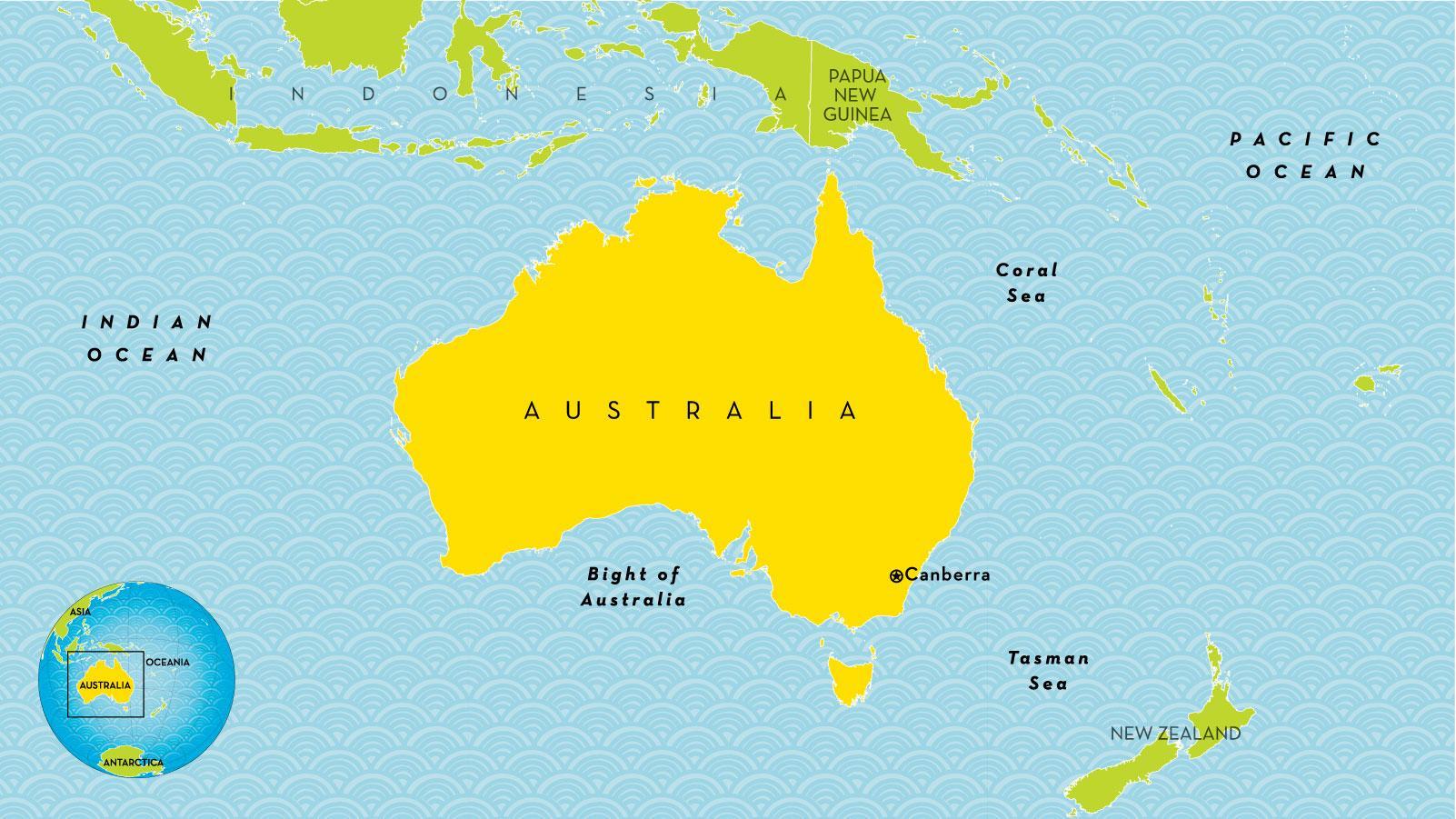 oseania kart Australia landet kart   Land kart over Australia (Australia og New  oseania kart