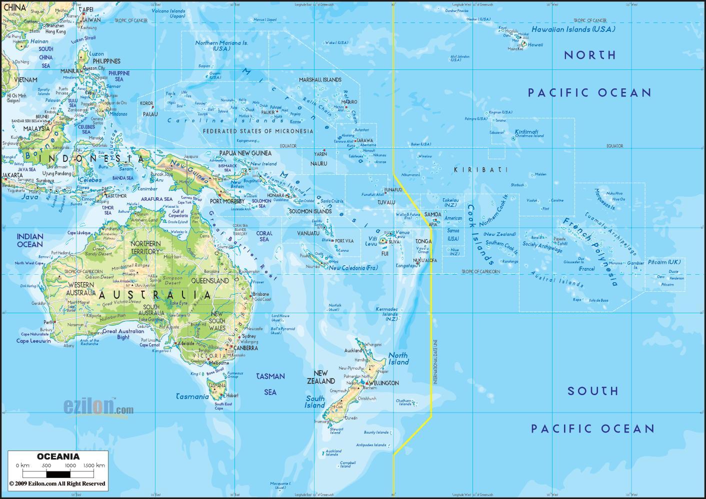 kart oseania Oceania Australia kart   Australia og oceania kart (Australia og  kart oseania