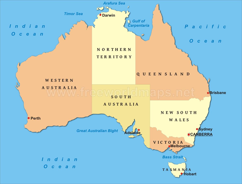 kart over australia Politisk kart over Australia, Australia kart, politisk (Australia  kart over australia