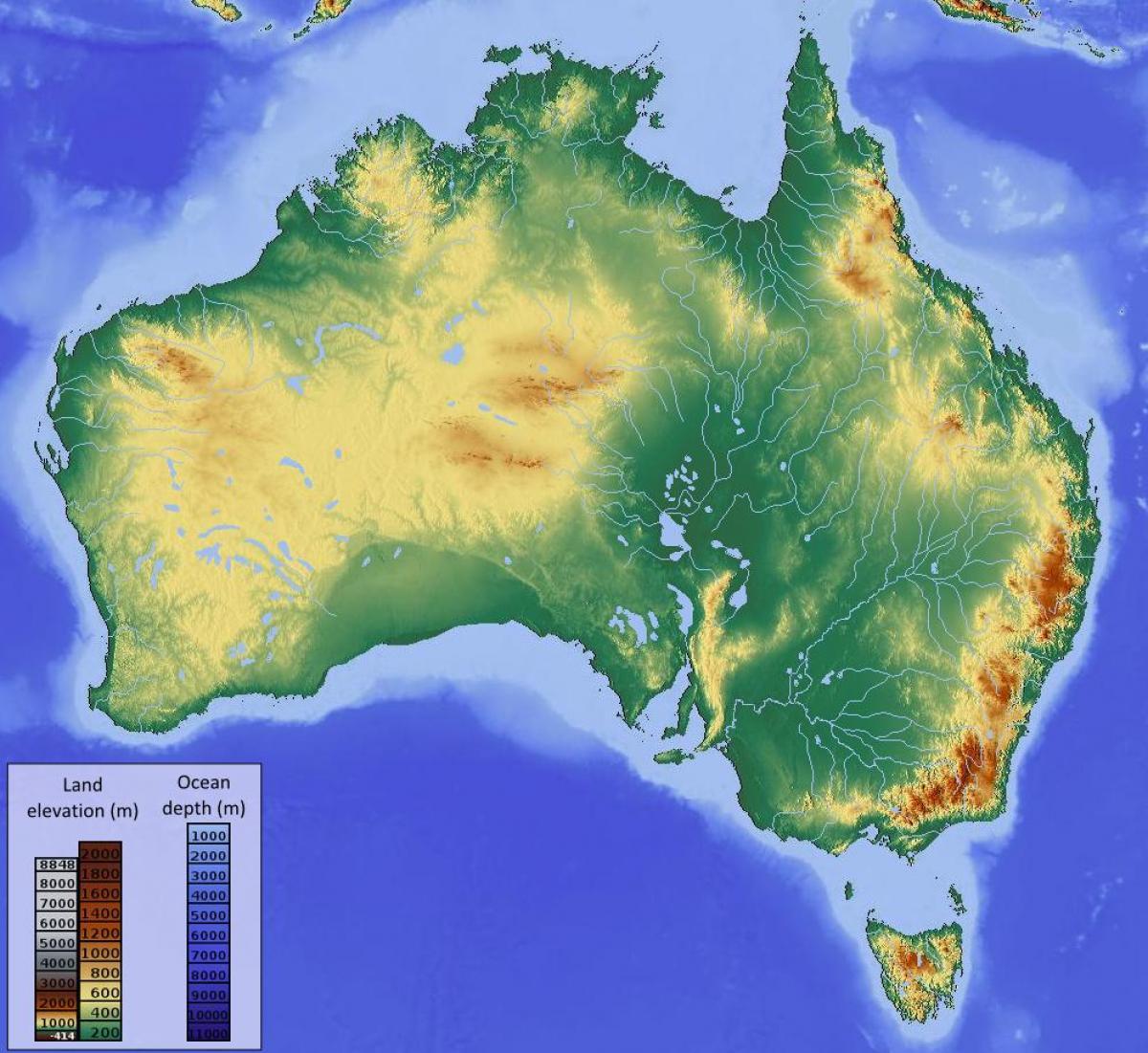 høyde kart Australia høyde kart   Høyde kart over Australia (Australia og New  høyde kart