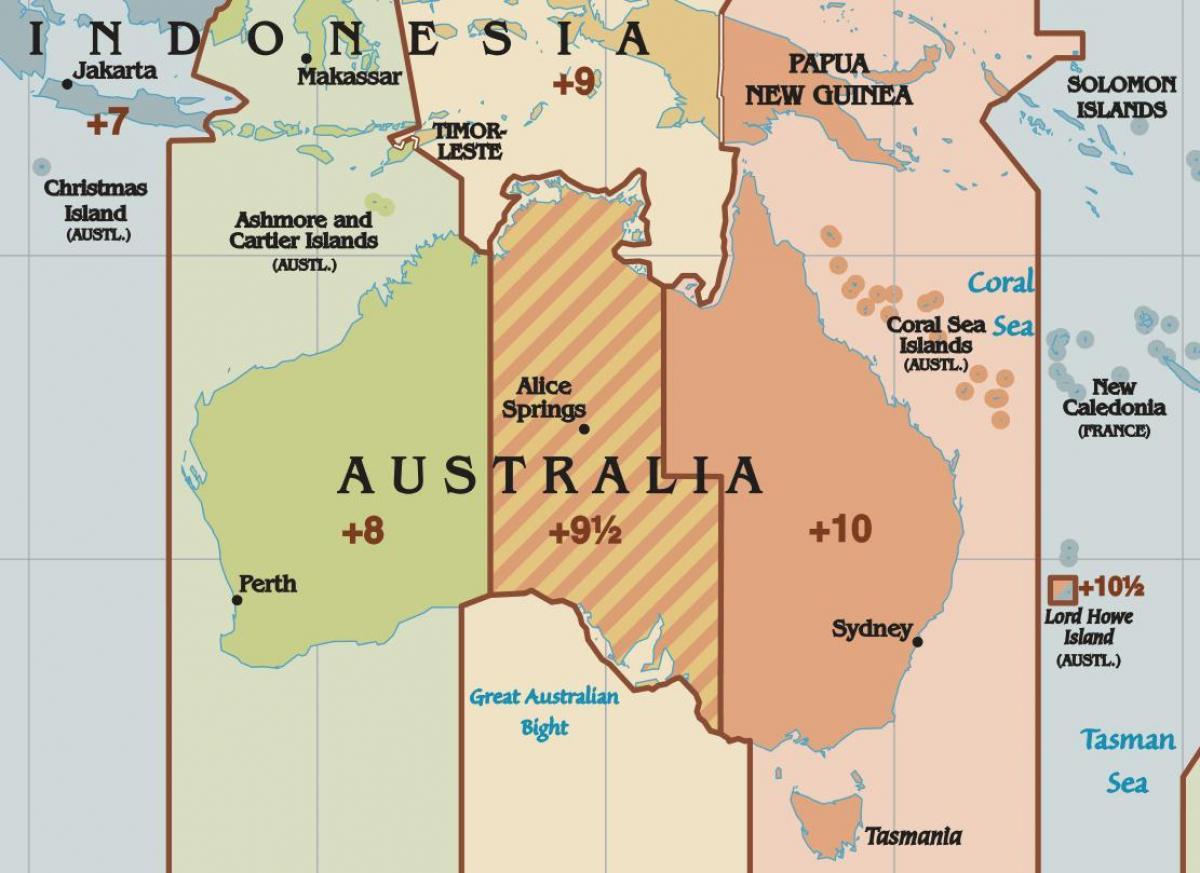 tidssoner kart Australske tidssoner kart   Australia time kart (Australia og New  tidssoner kart